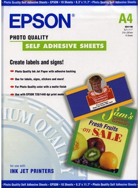 Make Your Own Sticker Paper - a4 epson self adhesive sticker paper 167gsm c13s041106 at