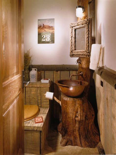 small rustic bathroom ideas the bachelor gulch lodge rustic powder room denver by rmt architects
