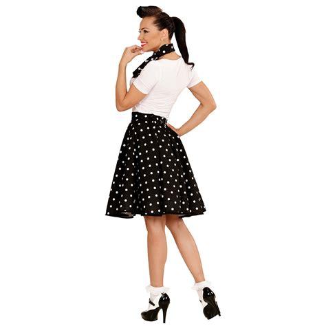 60er jahre 60er jahre tellerrock mit halstuch schwarz petticoat