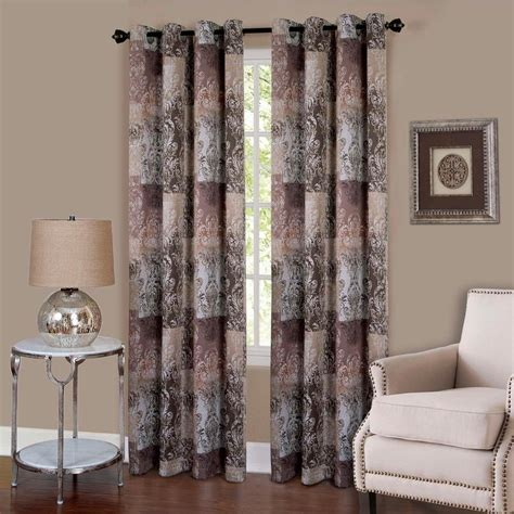 Brown Grommet Curtains Achim Vogue Brown Grommet Window Curtain Panel 50 In W X 84 In L Vgpn84br06 The Home Depot