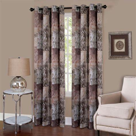 brown grommet curtain panels achim vogue brown grommet window curtain panel 50 in w