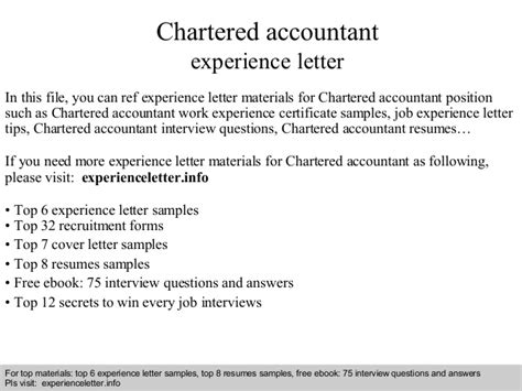 Experience Letter By Chartered Accountant Chartered Accountant Experience Letter