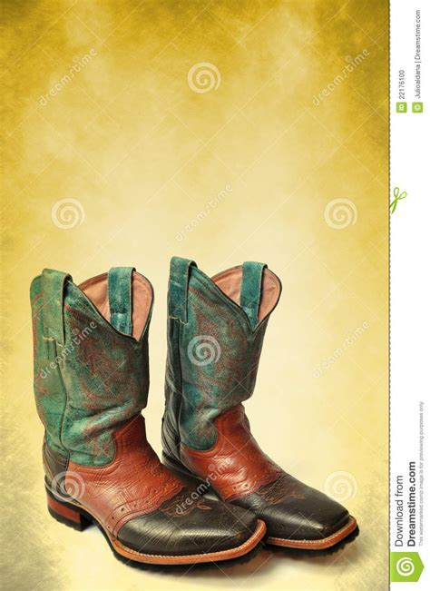 vintage cowboy boot l vintage cowboy boots poster card template stock photo