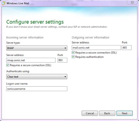 windows live mail imap settings sonicwiki windows live mail 11 setup sonicwiki