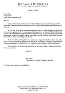 Letter/Email to The Guardian   Watchtower UN NGO