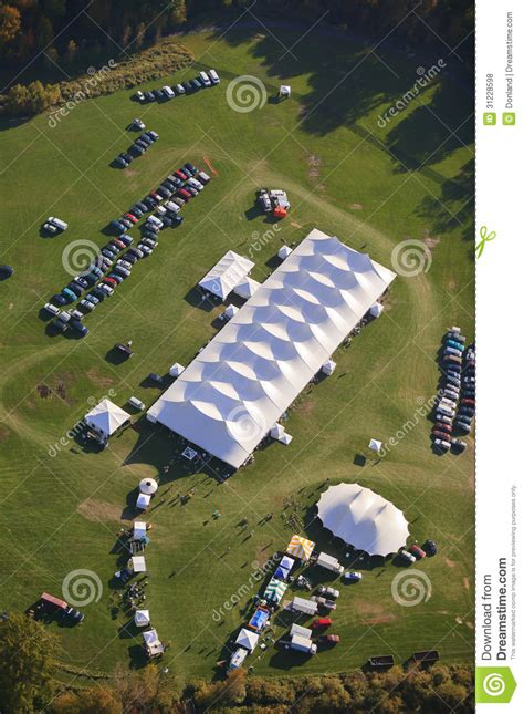 aerial view  event tent  vermont stock photo image