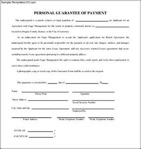 personal guarantee form template simple personal guarantee form sle templates