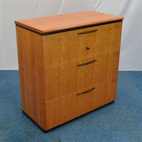 gordon cherry 3 drawer lateral filing cabinet