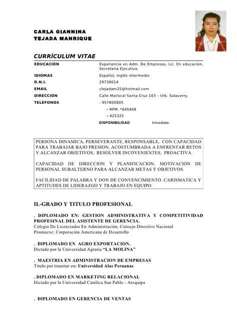 Modelo Curriculum Vitae Peru 2015 Modelo De Curriculum Vitae Peru Modelo De Curriculum Vitae