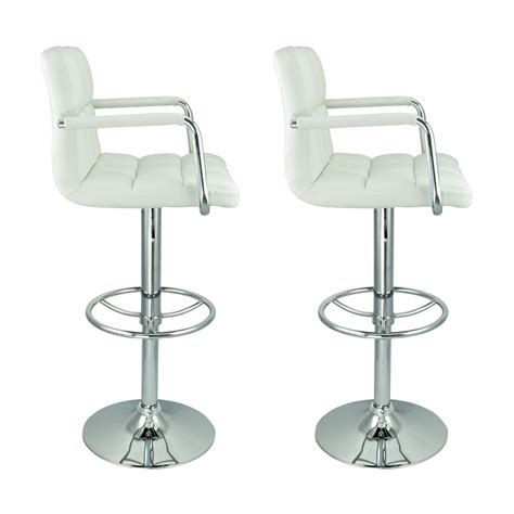 comfortable bar stools with arms chair 2 swivel white with leather modern adjustable
