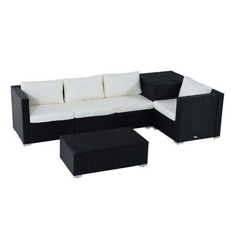 outdoor sofa with storage outsunny 6pc rattan wicker set garden sectional furniture