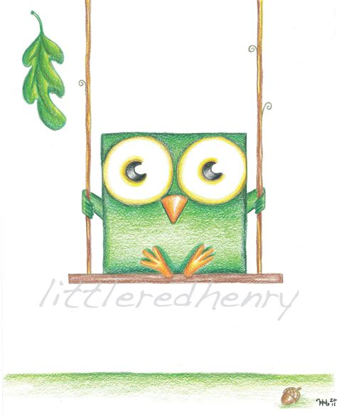 owl swing a square owl green boxy owl on swing by heather henry