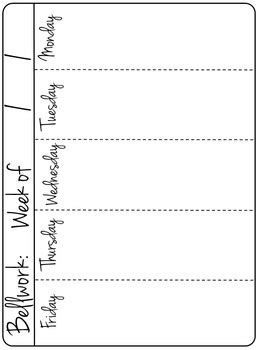 editable weekly bellwork bell ringer warmup template for