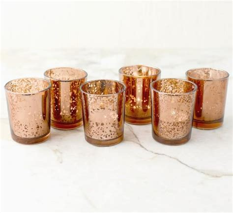 set of 3 copper and gold light up holiday presents set of 12 copper rose gold mercury glass candle votive