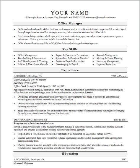 office manager resume template slebusinessresume com