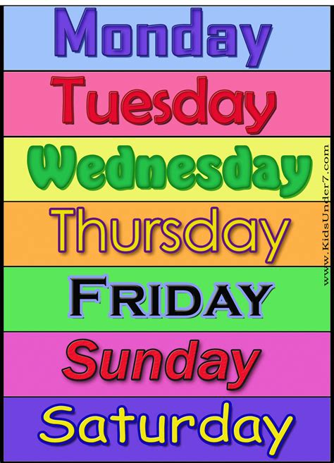 printable week days search results for days of the week printables coloring
