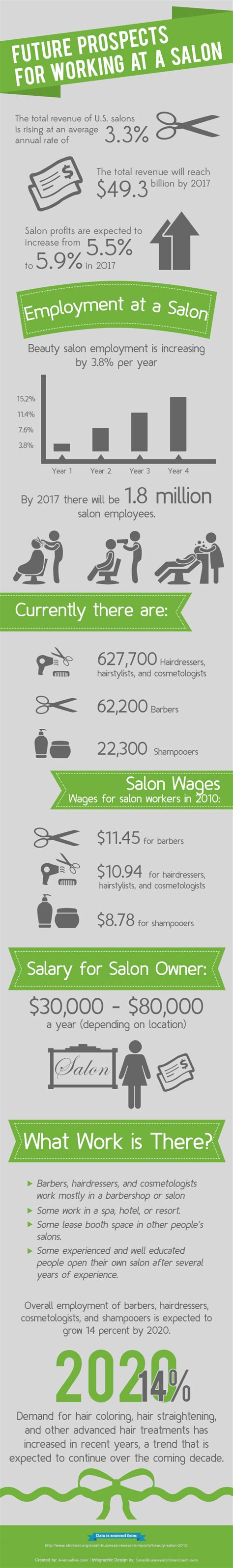 Hair Stylist Career Facts by Future Prospects For Working At A Hair Salon Infographic