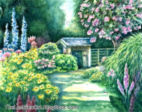 Flower Garden Drawings Items Similar To Garden Floral Flower Original Landscape Original Pastel