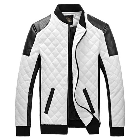 black and white pattern jacket 2017 winter mens black white leather jackets and coats men