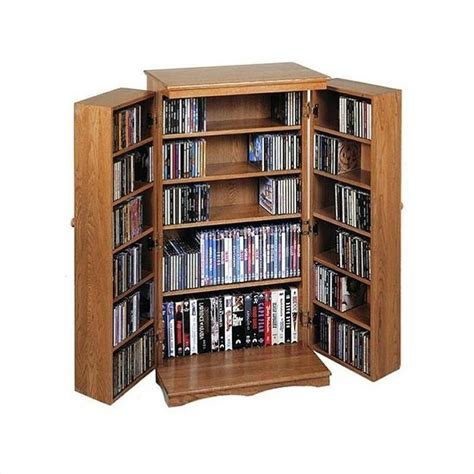 dvd storage 40 quot cd dvd media storage cabinet in dark oak cd 612d