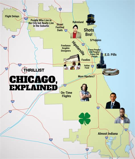 chicago light map chicago neighborhood stereotypes infographic