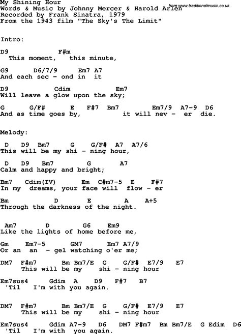 lyrics frank sinatra song lyrics with guitar chords for my shining hour frank