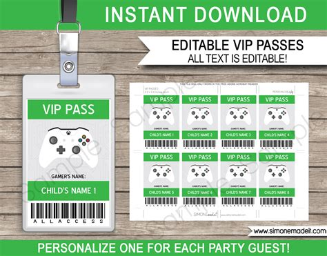 Xbox Party Vip Passes Video Game Birthday Party Printables Vip Name Tag Template
