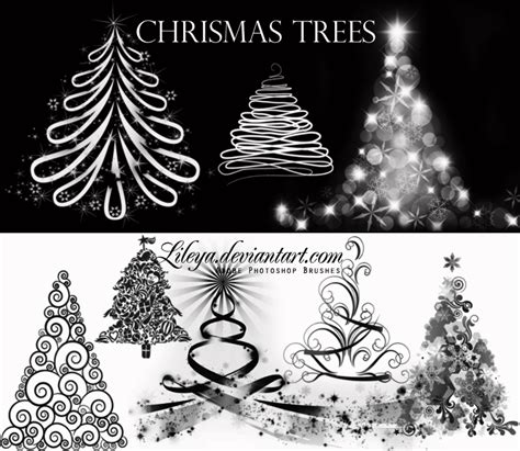 christmas tree brushes by lileya on deviantart