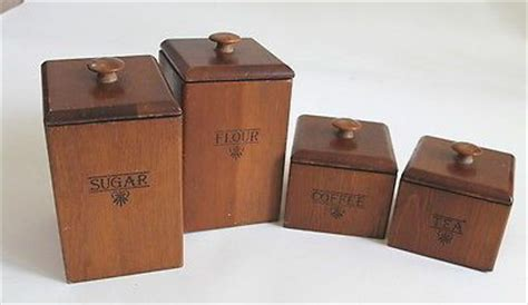 wooden kitchen canister sets vintage kitchen canister set of 4 wood coffee tea flour sugar
