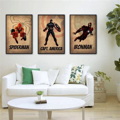 comic book themed living room superheroes set of 3 captain america ironman livi