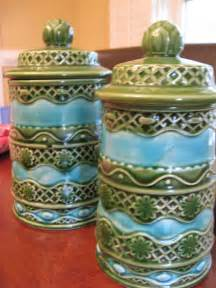vintage ceramic kitchen canisters vintage ceramic canisters turquoise blue and olive green