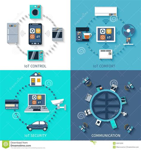 controlled comfort internet of things flat icons composition stock vector