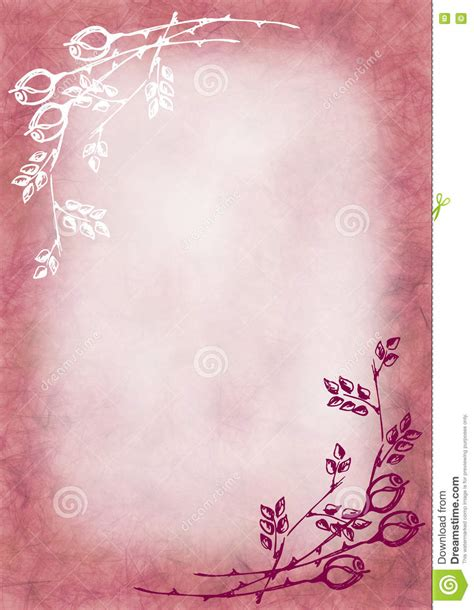 Hand Drawn Textured Floral Background In Pink Colors With Rose And Leaves Template For Letter Letter Background Template