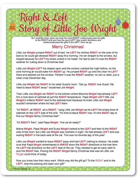printable christmas stories printable right left little joe wright funsational