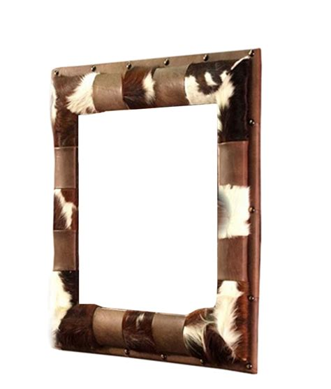 Cowhide Mirror cowhide and leather mirror rustic artistry