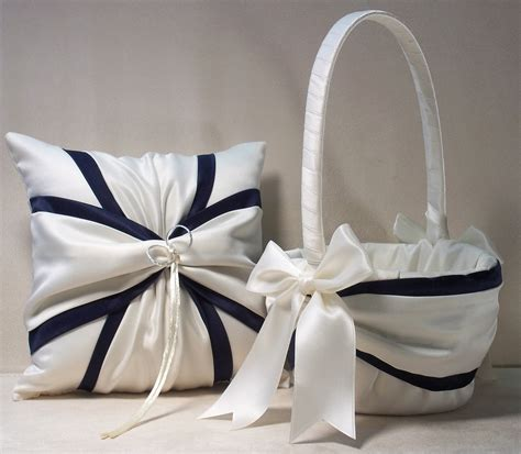Navy Blue Ring Bearer Pillow - ivory or white navy blue wedding ring bearer pillow flower