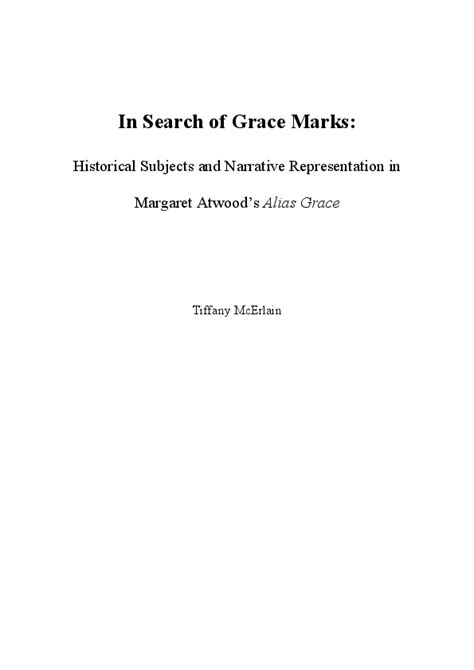 (PDF) In Search of Grace Marks: Historical Subjects and