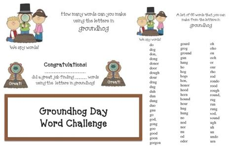 groundhog day meaning phrase groundhog day activities how many words can you make