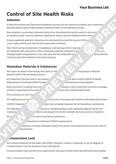 cdm construction phase plan template excellent site safety plan template contemporary resume
