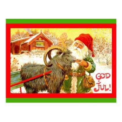vintage swedish gnome  santa  goat god jul holiday postcard zazzlecom yule goat