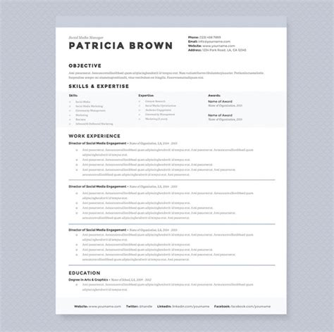 Clean Resume Template Clean Resume Template Pkg Resume Templates On Creative Market
