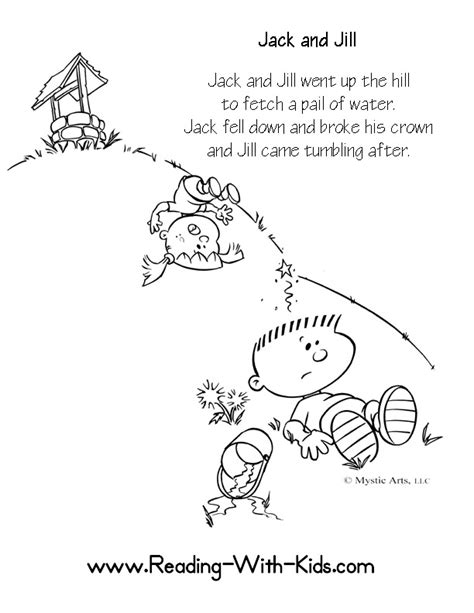 preschool coloring pages jack and jill embroidery disney patterns on pinterest nursery rhymes