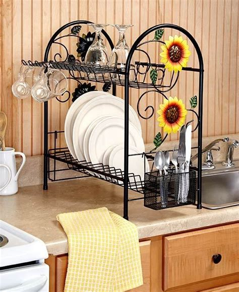 country kitchen theme ideas dish rack 2 tier metal sunflower rooster apple country