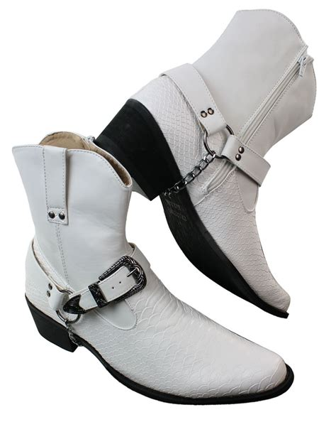 mens white boots leather mens white black snake leather look cowboy western