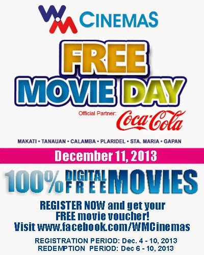 cineplex free movie day wm cinemas launches 6 branches with free movie day at