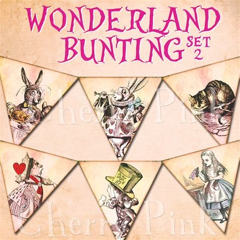 Alice In Wonderland Printable Decorations by Alice In Wonderland Bunting Set 2 Alice Decoration Printable