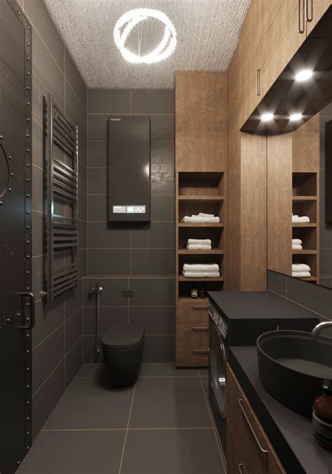 dark bathrooms design chic small studio apartment use a space splendidly to make