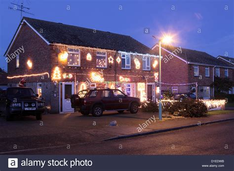 houses decorated with lights house decorated with lights suffolk uk stock