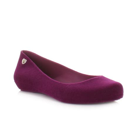 womens purple flat shoes mel shoes pop flock womens purple flat ballerina ballet