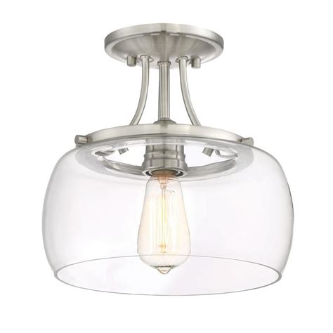 Semi Flush Kitchen Lighting Shop Quoizel Soho 10 62 In W Brushed Nickel Clear Glass Semi Flush Mount Light At Lowes